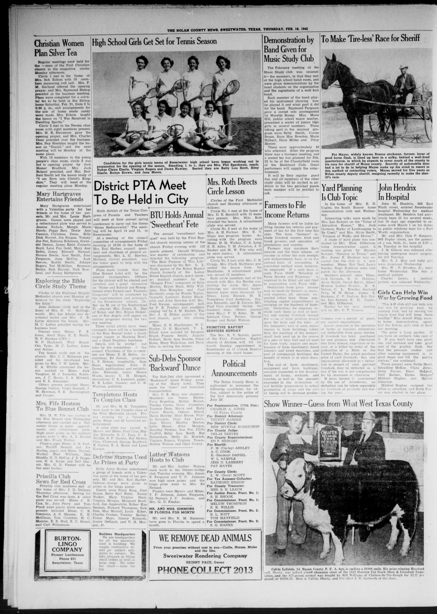 The Nolan County News (Sweetwater, Tex ), Vol  18, No  10, Ed  1