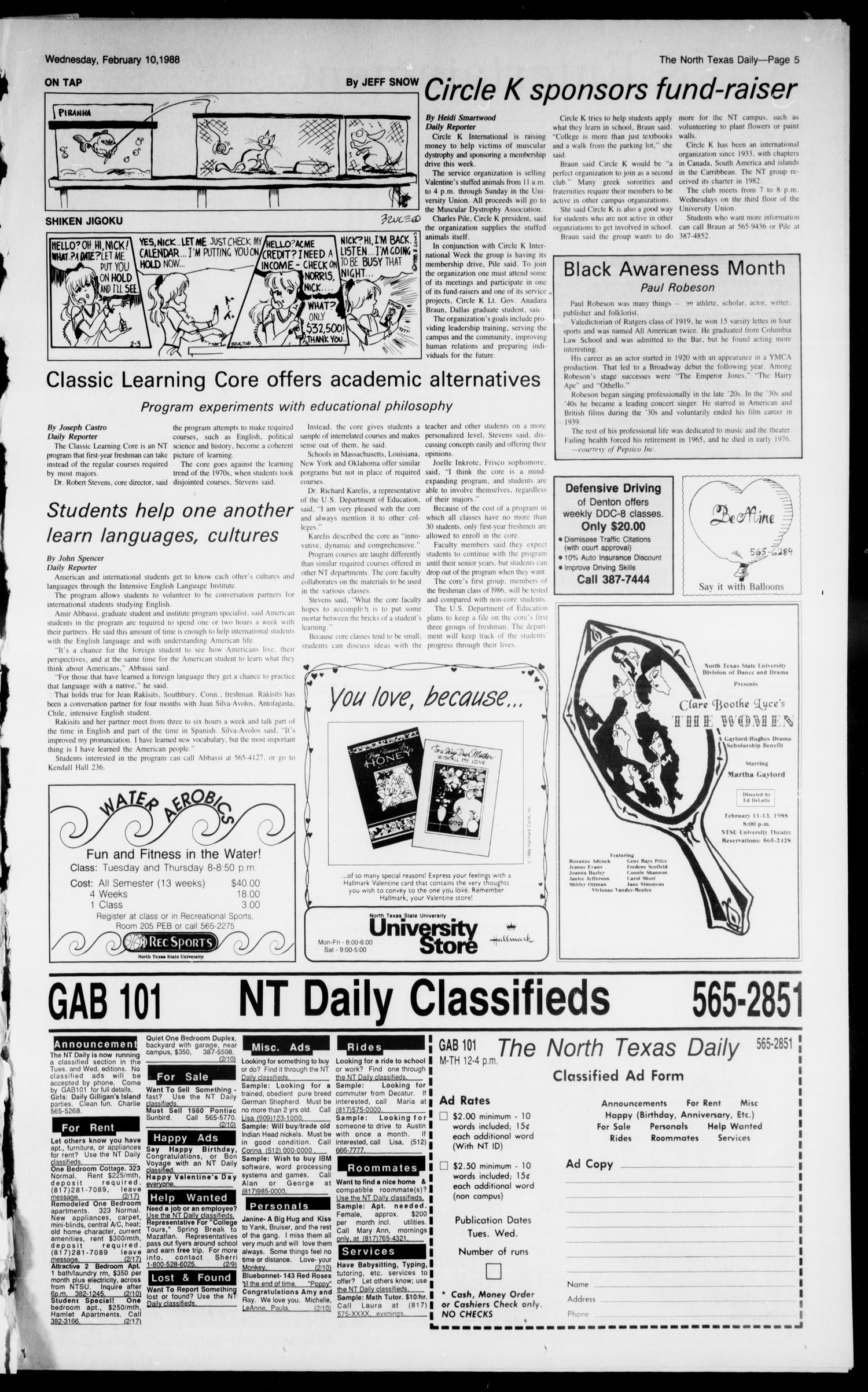 The North Texas Daily (Denton, Tex ), Vol  71, No  68, Ed  1