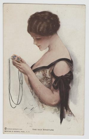 Postcard of Woman Looking at Locket