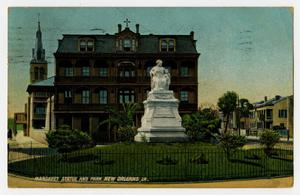 Primary view of object titled '[Postcard of Margaret Statue and Park in New Orleans]'.