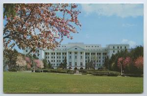 Primary view of object titled '[Postcard of Greenbrier's Portico]'.