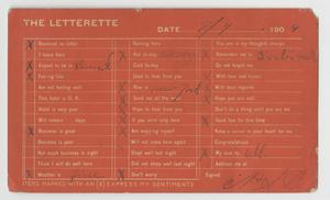 Primary view of object titled '[Postcard of a Letterette]'.