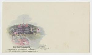 Primary view of object titled '[Postcard of the Iron Mountain Route, Army and Navy Hospital]'.