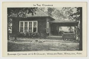 Primary view of object titled '[Postcard of Summer Cottage of G. B. Dealey]'.