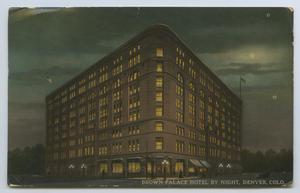 Primary view of object titled '[Postcard of Brown Palace Hotel at Night]'.