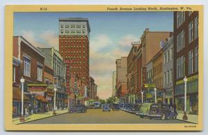 Primary view of object titled '[Postcard of Fourth Avenue in Downtown Huntington Painting]'.