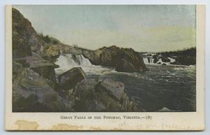 Primary view of object titled '[Postcard of Great Falls of the Potomac from the River's Edge]'.
