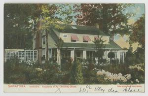 Primary view of object titled '[Postcard of the Residence of Mr. Chauncey Olcott]'.