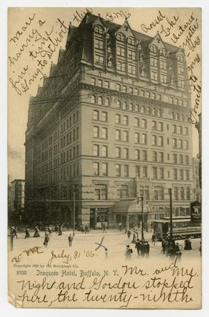 Primary view of object titled '[Postcard of the Iroquois Hotel]'.