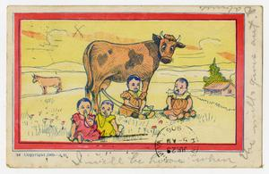 Primary view of object titled '[Postcard of Babies and a Cow]'.