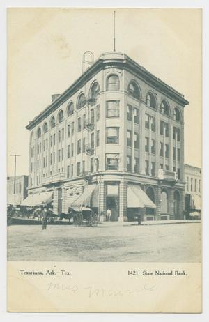 Primary view of object titled '[Postcard State National Bank in Texarkana]'.