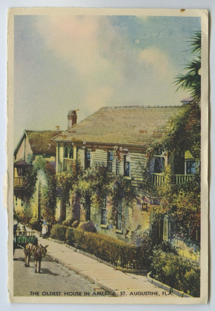 Postcard of the Oldest House In America] - The Portal to
