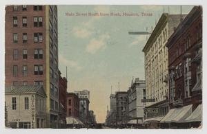 Primary view of object titled '[Postcard of Main Street North From Rusk in Houston]'.