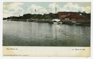 Primary view of object titled '[Postcard of Bayou St. John in New Orleans]'.