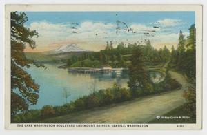Primary view of object titled '[Postcard of Lake Washington Boulevard and Mount Rainier]'.