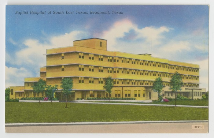 postcard of baptist hospital in beaumont the portal to texas history