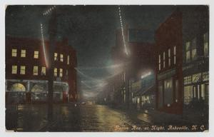 Primary view of object titled '[Postcard of Patton Ave. at Night in Asheville]'.