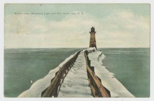 Primary view of [Postcard of Lighthouse and Pier in Solus Bay]