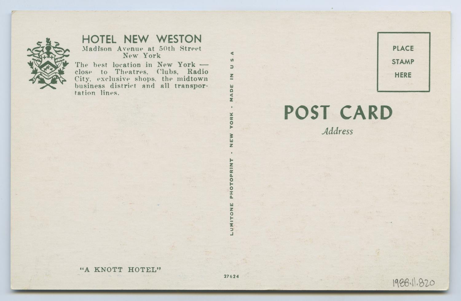 [Postcard of Hotel New Weston]                                                                                                      [Sequence #]: 2 of 2