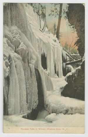 Primary view of object titled '[Postcard of Rainbow Falls in Winter at Watkins Glen]'.