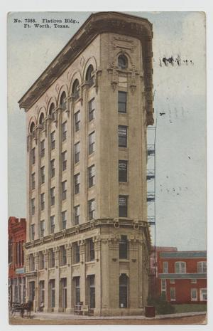 Primary view of object titled '[Postcard of Flatiron Building in Ft. Worth]'.
