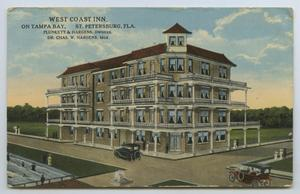 Primary view of object titled '[Postcard of West Coast Inn on Tampa Bay]'.