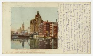 Primary view of object titled '[Postcard of River from Sycamore Street in Milwaukee]'.