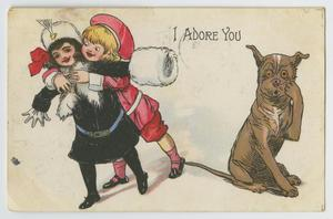Primary view of object titled '[Postcard of a Boy Hugging a Young Girl]'.