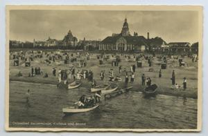 Primary view of object titled '[Postcard of Crowded Beach]'.