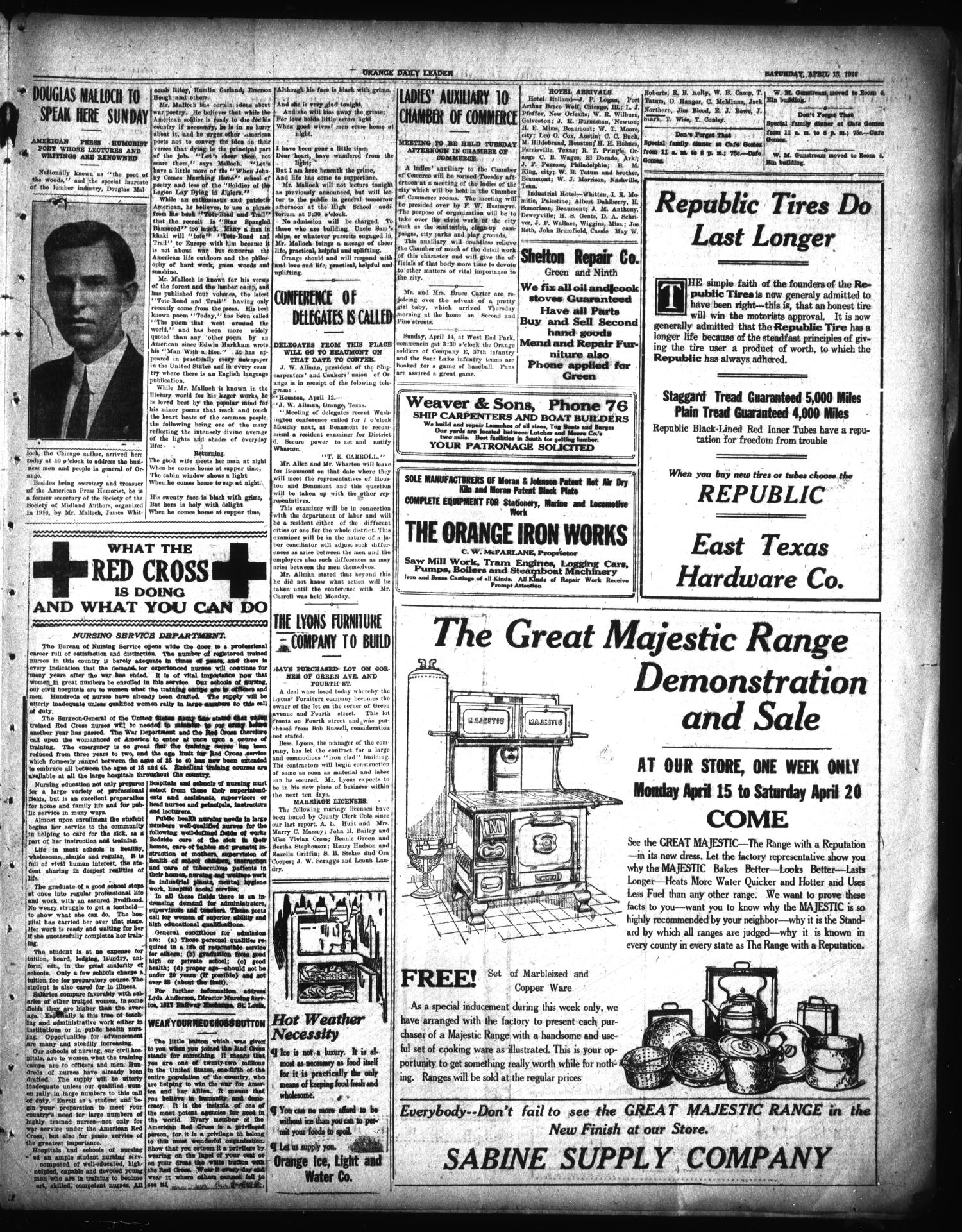Orange Daily Leader (Orange, Tex.), Vol. 14, No. 62, Ed. 1 Saturday, April 13, 1918                                                                                                      [Sequence #]: 3 of 4
