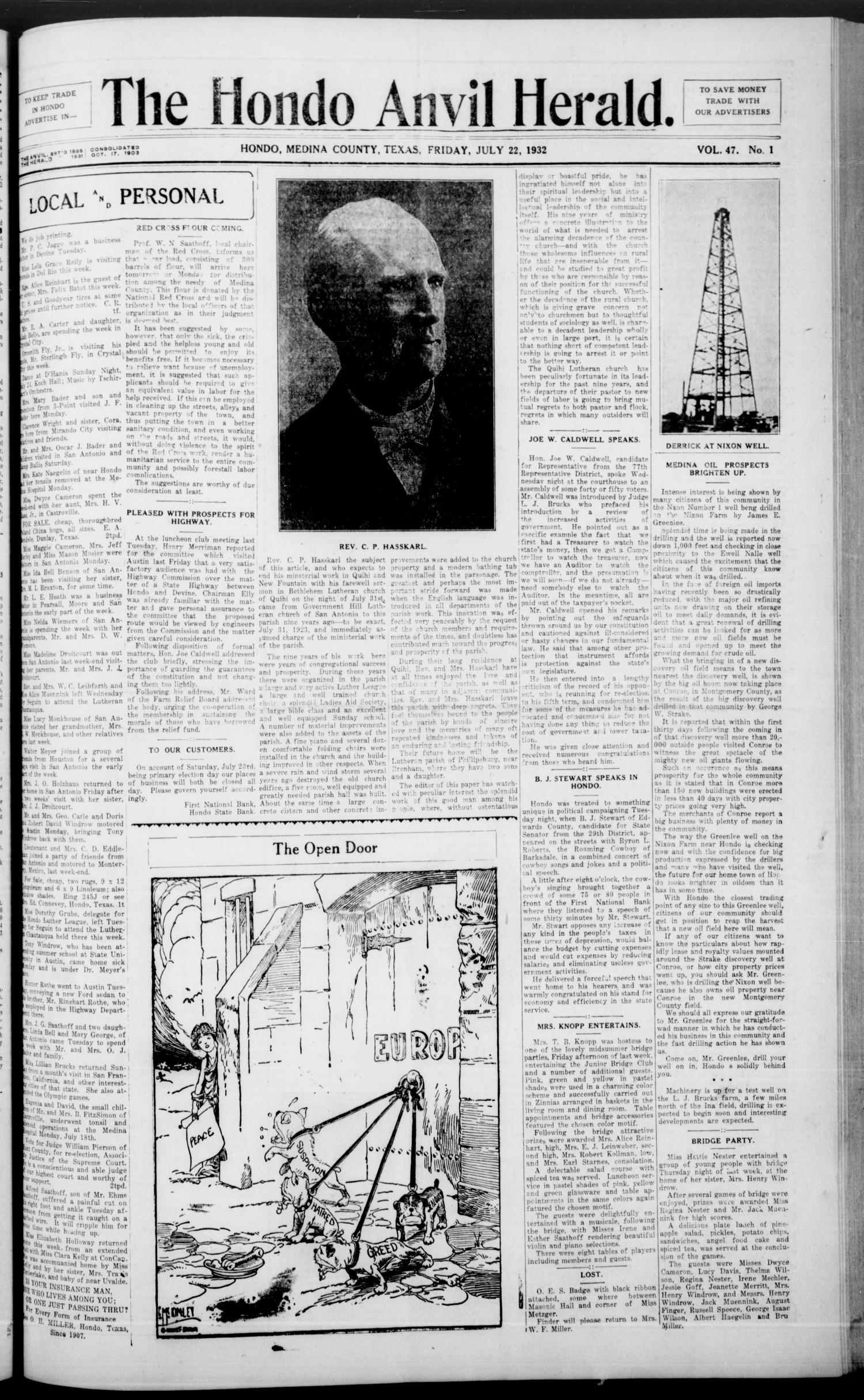 The Hondo Anvil Herald. (Hondo, Tex.), Vol. 47, No. 1, Ed. 1 Friday, July 22, 1932                                                                                                      [Sequence #]: 1 of 8