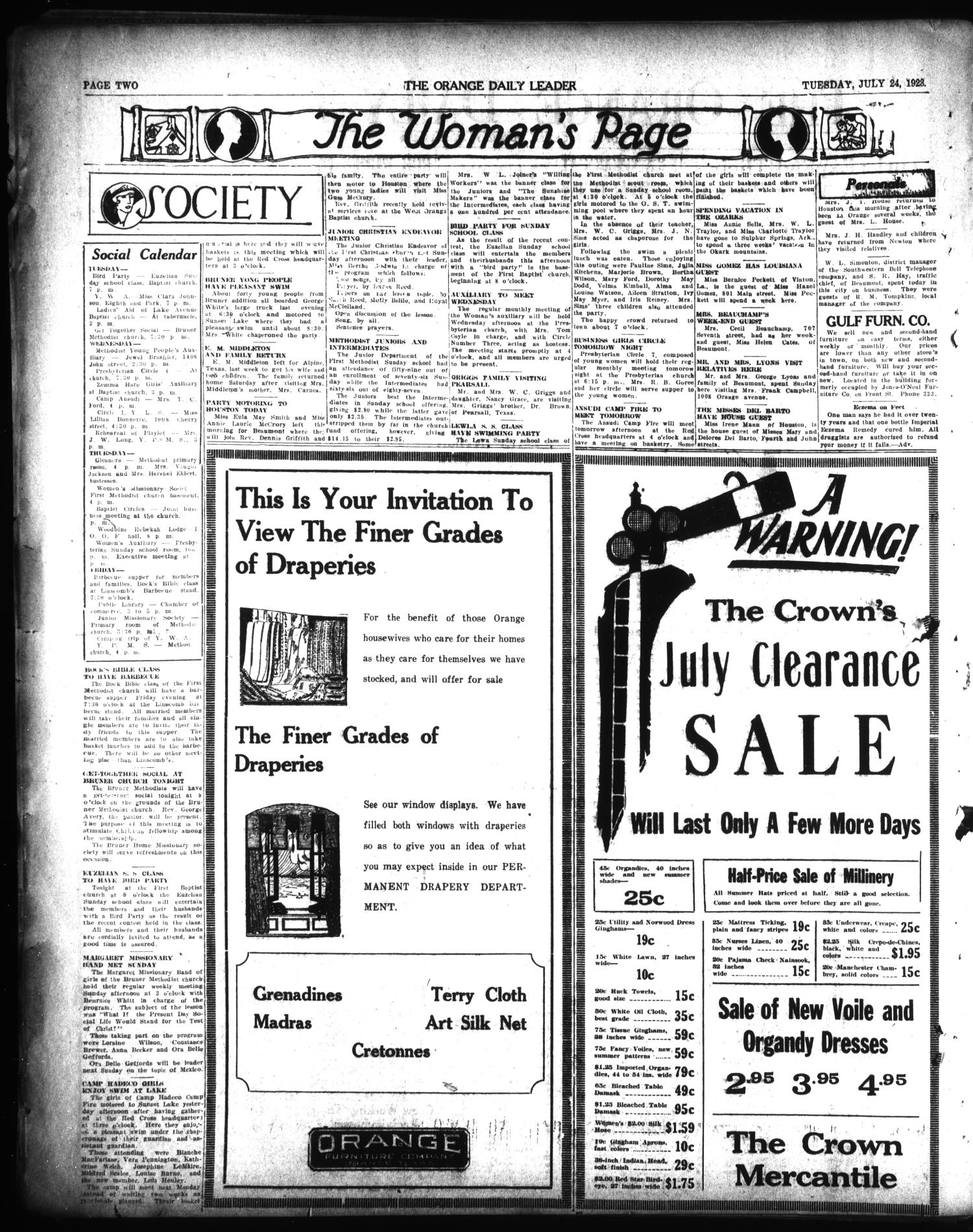 The Orange Daily Leader (Orange, Tex.), Vol. 9, No. 172, Ed. 1 Tuesday, July 24, 1923                                                                                                      [Sequence #]: 2 of 4