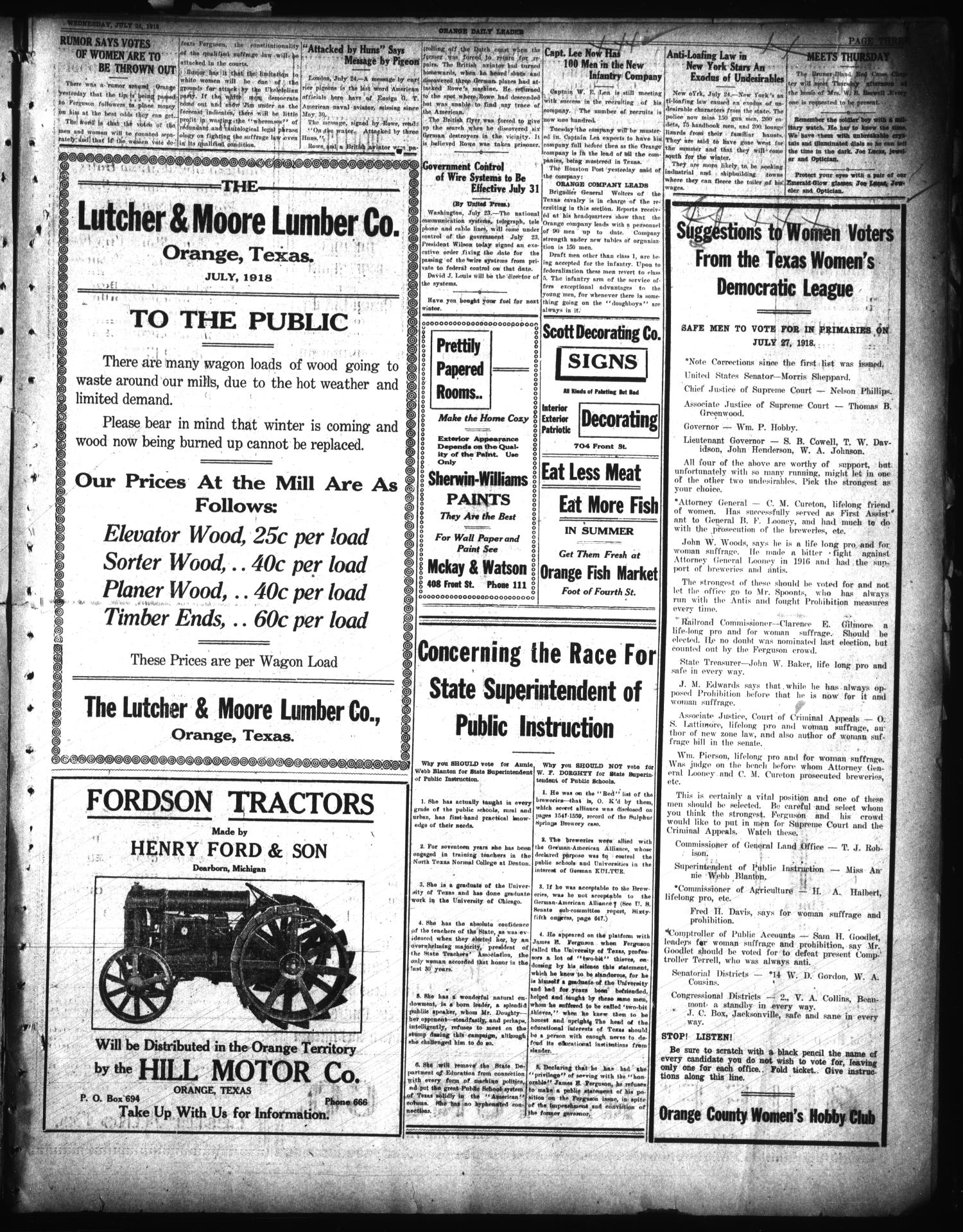 Orange Daily Leader (Orange, Tex.), Vol. 14, No. 135, Ed. 1 Wednesday, July 24, 1918                                                                                                      [Sequence #]: 3 of 6