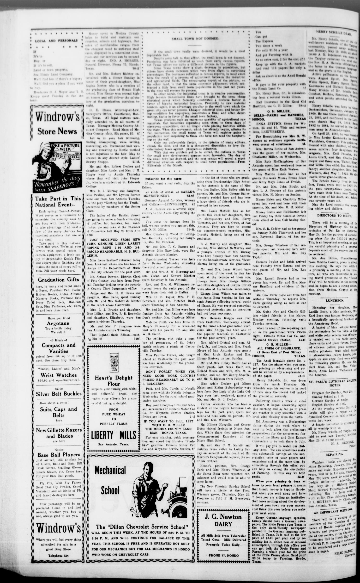 The Hondo Anvil Herald. (Hondo, Tex.), Vol. 44, No. 44, Ed. 1 Friday, May 23, 1930                                                                                                      [Sequence #]: 4 of 8