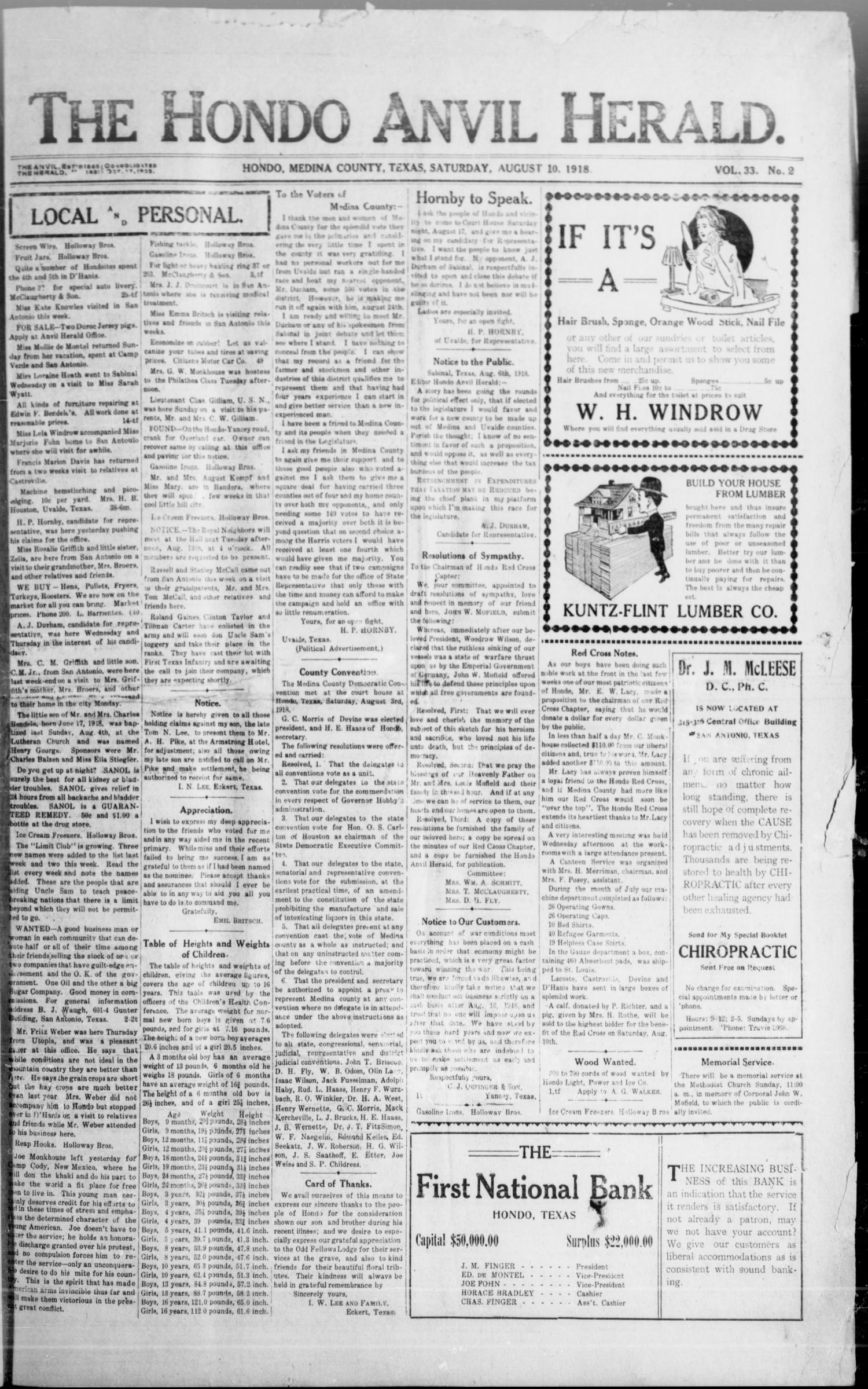The Hondo Anvil Herald. (Hondo, Tex.), Vol. 33, No. 2, Ed. 1 Saturday, August 10, 1918                                                                                                      [Sequence #]: 1 of 6