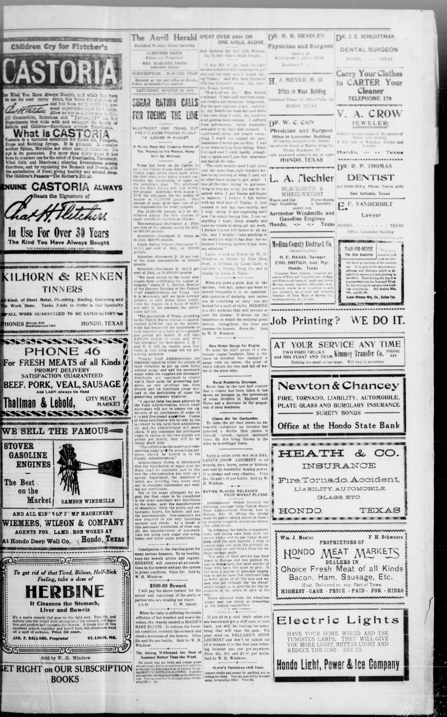 The Hondo Anvil Herald. (Hondo, Tex.), Vol. 33, No. 2, Ed. 1 Saturday, August 10, 1918                                                                                                      [Sequence #]: 3 of 6