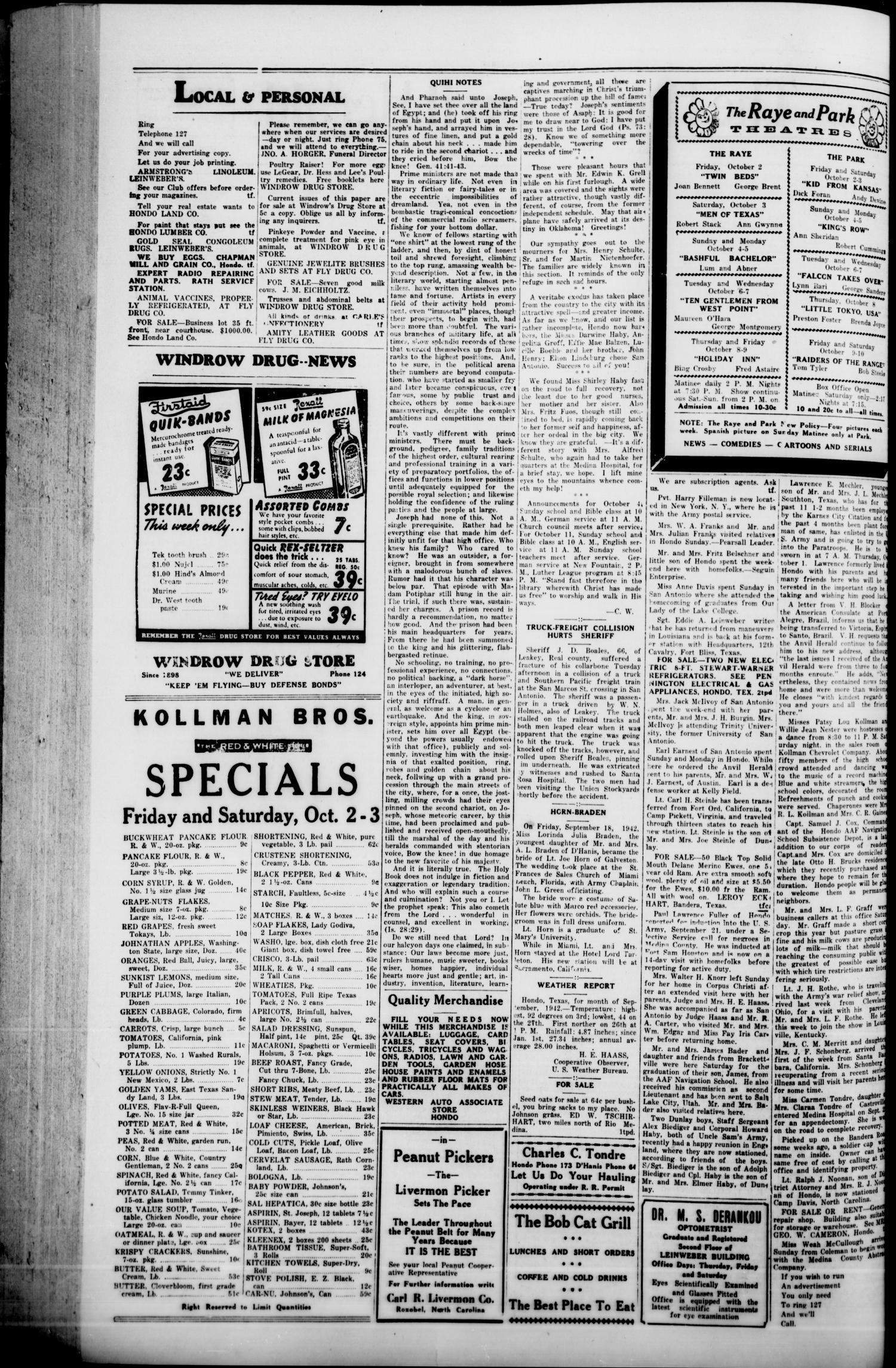 The Hondo Anvil Herald  (Hondo, Tex ), Vol  57, No  13, Ed