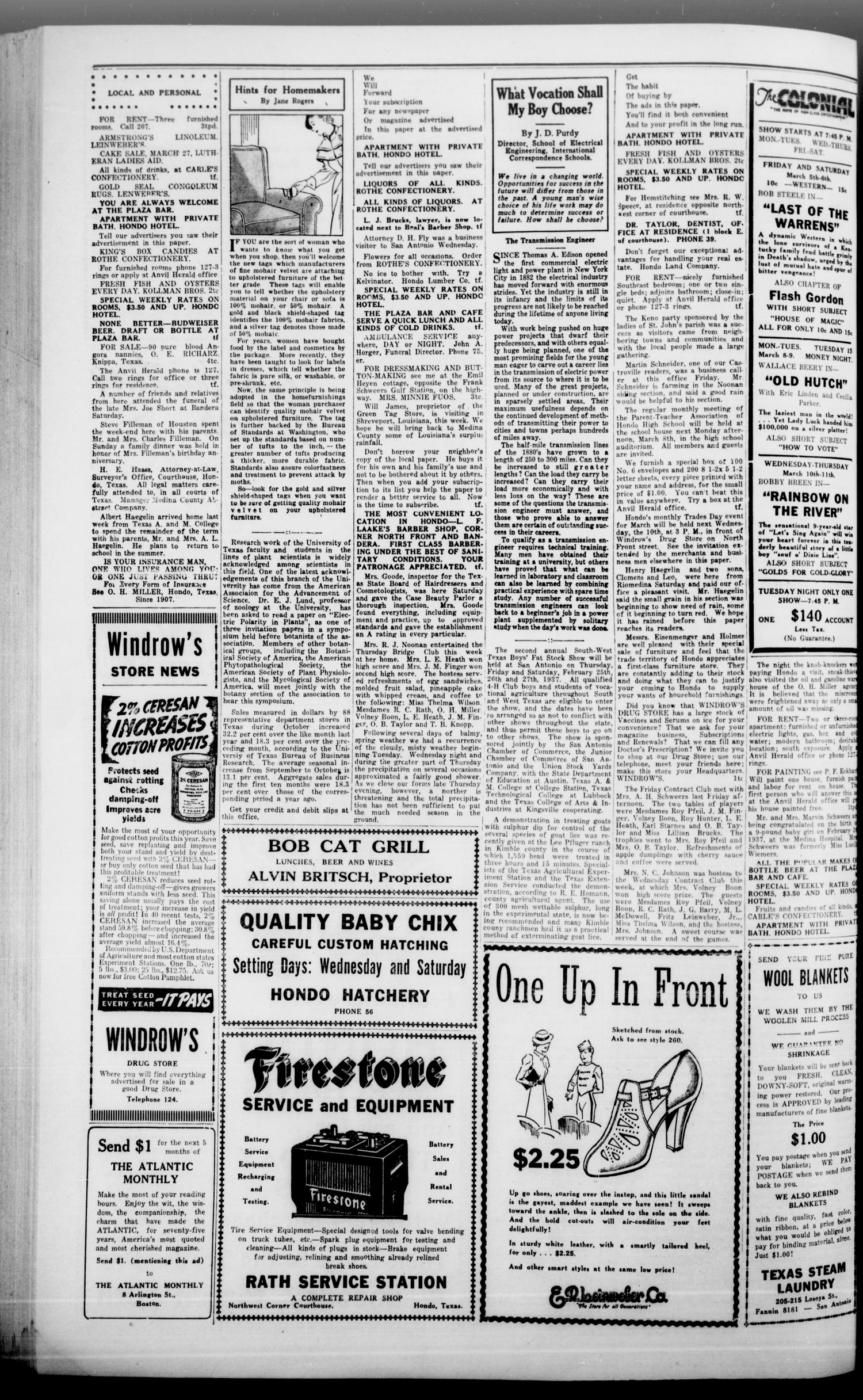 The Hondo Anvil Herald. (Hondo, Tex.), Vol. 51, No. 34, Ed. 1 Friday, March 5, 1937                                                                                                      [Sequence #]: 4 of 8