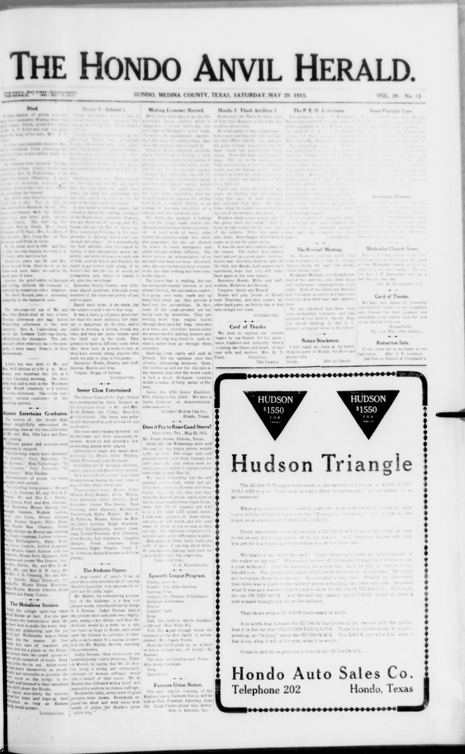 The Hondo Anvil Herald. (Hondo, Tex.), Vol. 29, No. 43, Ed. 1 Saturday, May 29, 1915                                                                                                      [Sequence #]: 1 of 8