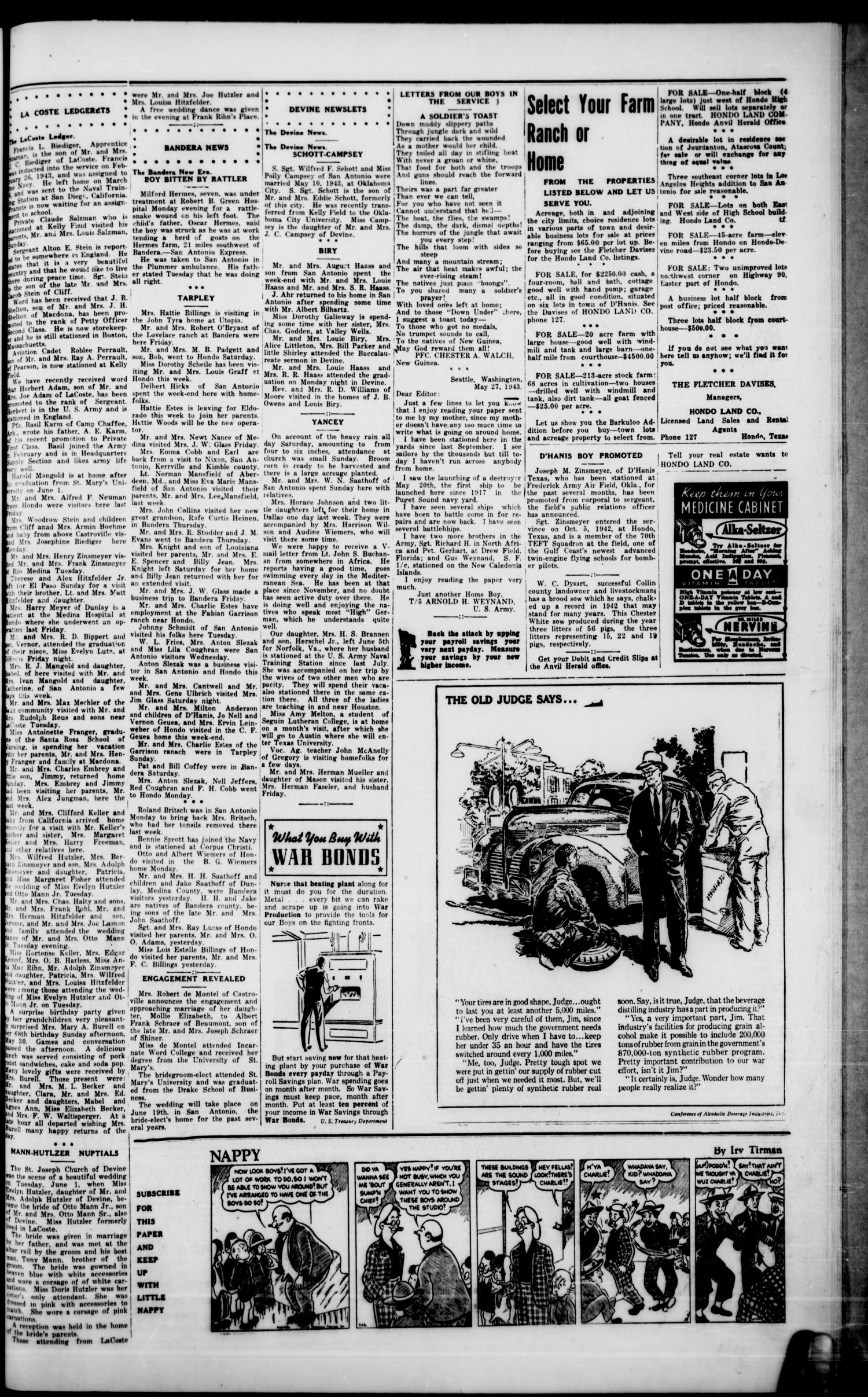 The Hondo Anvil Herald. (Hondo, Tex.), Vol. 57, No. 49, Ed. 1 Friday, June 11, 1943                                                                                                      [Sequence #]: 3 of 6