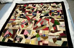 Primary view of object titled '[Patchwork quilt made by the ladies of The Christian Church of Rosenberg.]'.