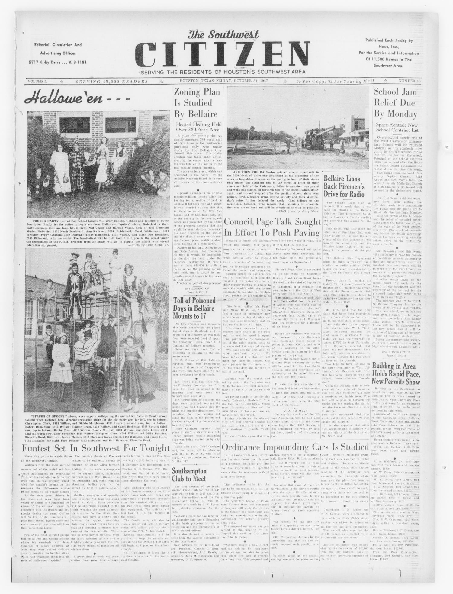The Southwest Citizen (Houston, Tex.), Vol. 1, No. 16, Ed. 1 Friday, October 31, 1947                                                                                                      [Sequence #]: 1 of 18