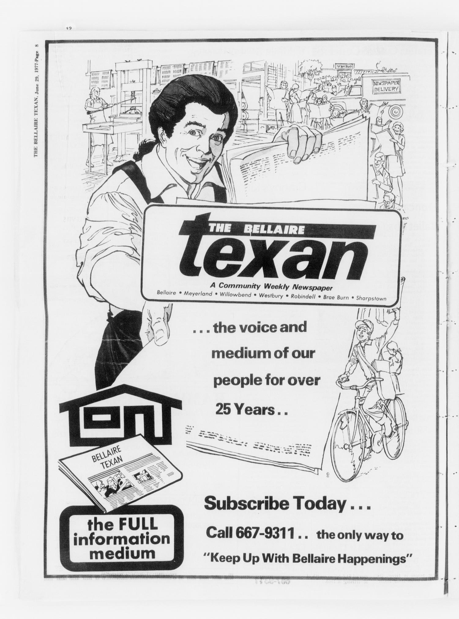 The Bellaire Texan (Bellaire, Tex.), Vol. 24, No. 18, Ed. 1 Wednesday, June 29, 1977                                                                                                      [Sequence #]: 8 of 32