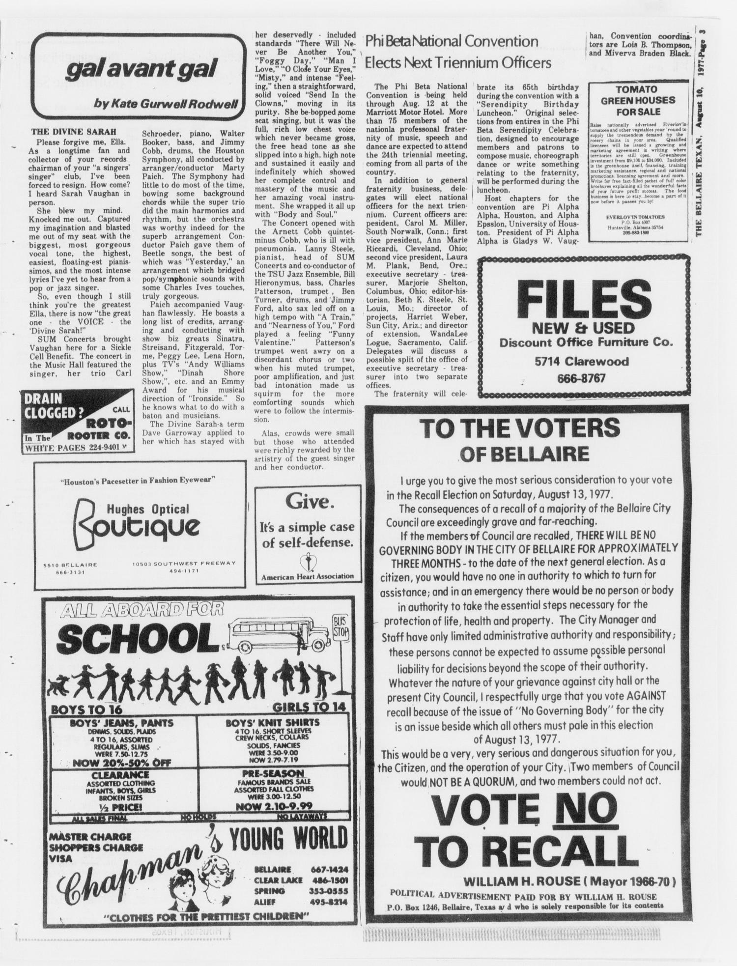 The Bellaire Texan (Bellaire, Tex.), Vol. 24, No. 14, Ed. 1 Wednesday, August 10, 1977                                                                                                      [Sequence #]: 3 of 32