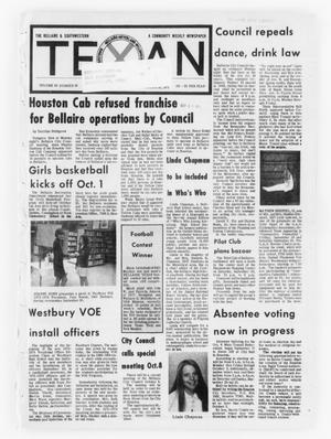 Primary view of object titled 'The Bellaire & Southwestern Texan (Bellaire, Tex.), Vol. 20, No. 26, Ed. 1 Wednesday, September 26, 1973'.