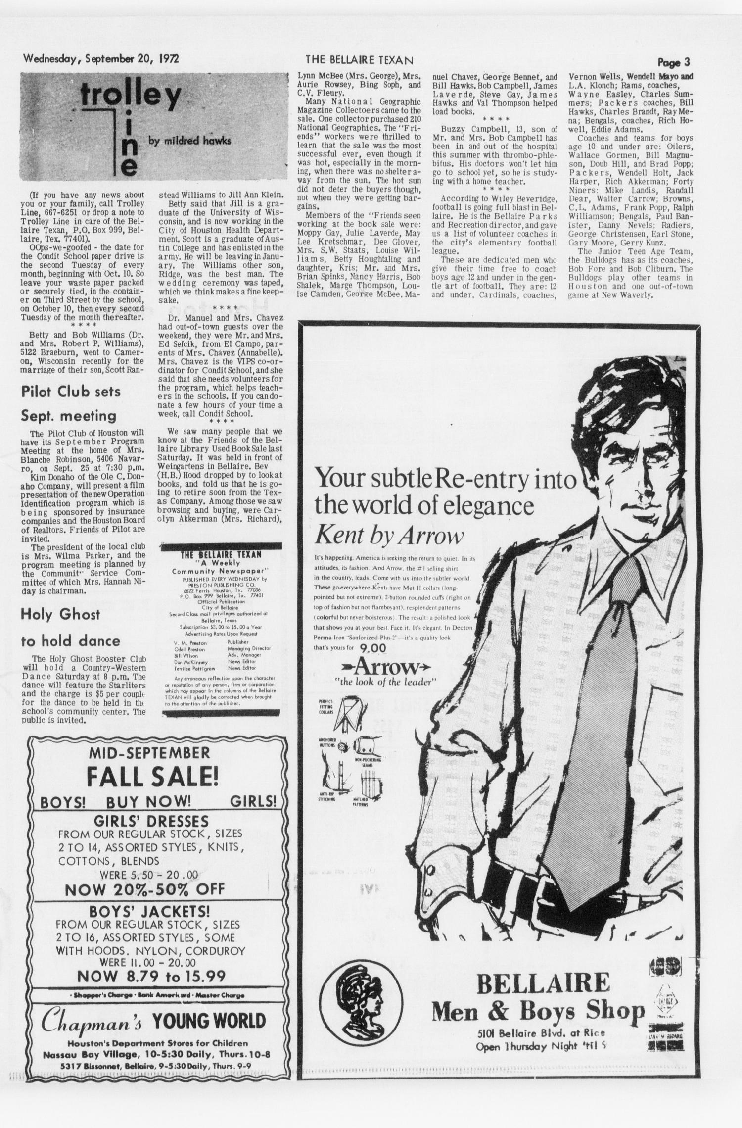 The Bellaire & Southwestern Texan (Bellaire, Tex.), Vol. 19, No. 25, Ed. 1 Wednesday, September 20, 1972                                                                                                      [Sequence #]: 3 of 44