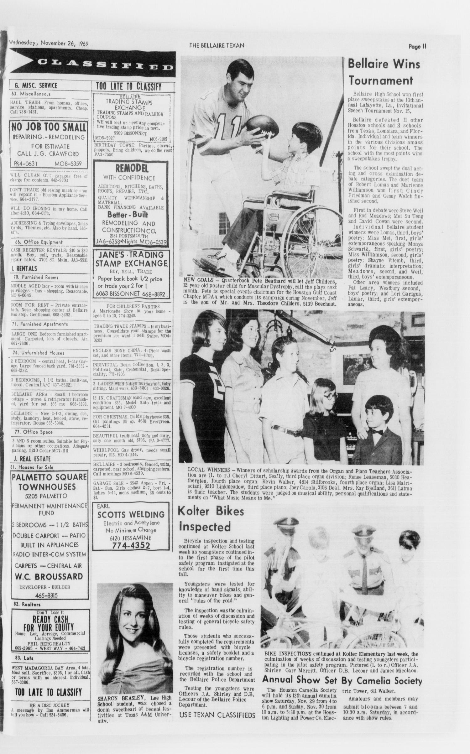 The Bellaire & Southwestern Texan (Bellaire, Tex.), No. 28, Ed. 1 Wednesday, November 26, 1969                                                                                                      [Sequence #]: 27 of 28