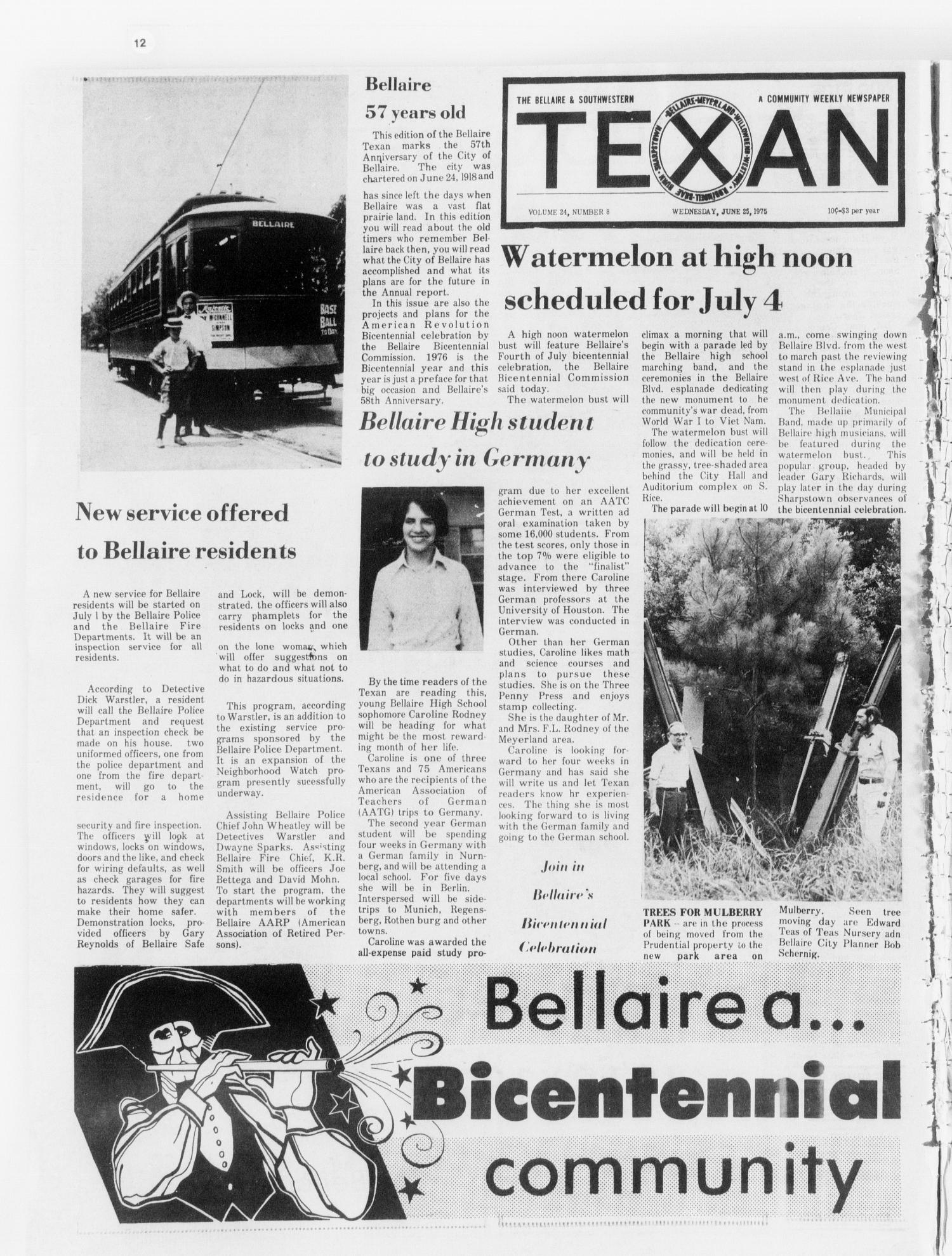 The Bellaire & Southwestern Texan (Bellaire, Tex.), Vol. 24, No. 8, Ed. 1 Wednesday, June 25, 1975                                                                                                      [Sequence #]: 1 of 47