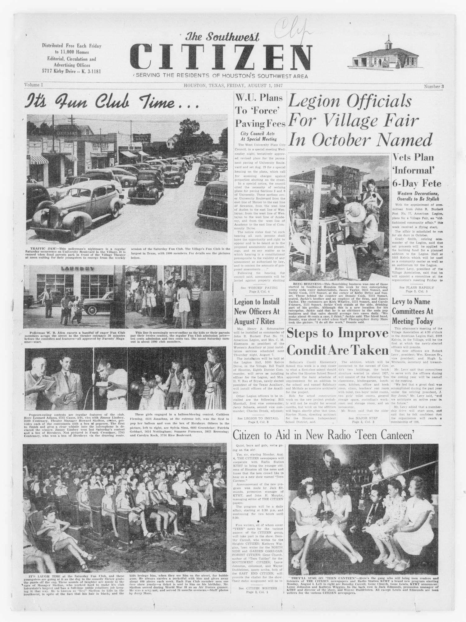 The Southwest Citizen (Houston, Tex ), Vol  1, No  3, Ed  1