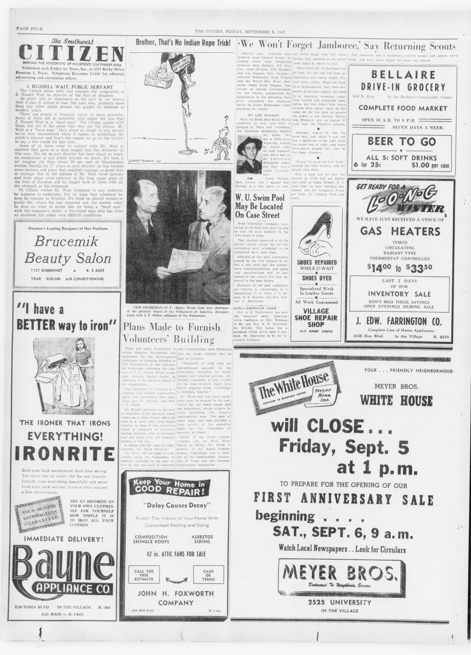 The Southwest Citizen (Houston, Tex.), Vol. 1, No. 8, Ed. 1 Friday, September 5, 1947                                                                                                      [Sequence #]: 4 of 22